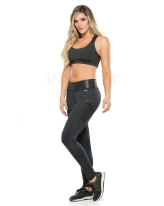 Ann Chery 7027 Black Metallic Control Leggings