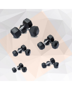 HEX RUBBER COATED DUMBBELL-5